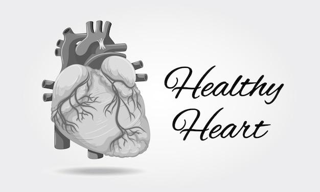 Poster del cuore sano con l'immagine del cuore