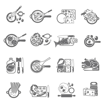 Healthy home cooking concept flat icons set with vegetables meat and fish dishes