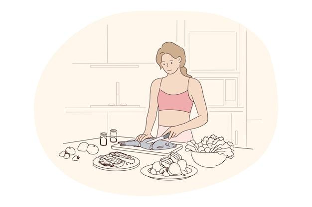 건강한 수제 음식, 깨끗한 식사, 다이어트 개념. 부엌에 서있는 젊은 긍정적 인 여자와
