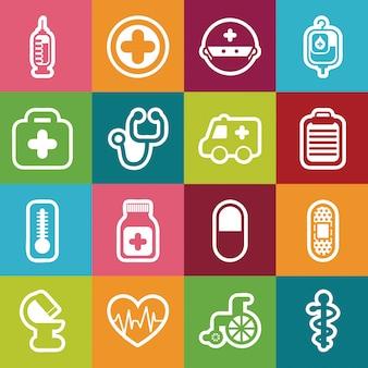 Здоровые иконки на красочный фон векторные иллюстрации