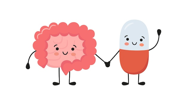 Healthy intestine and happy smiling medicine pill characters hold hands