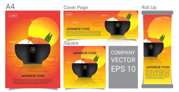 Healthy japanese food with salmon rice banner background set