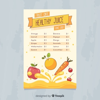 Healthy juice menu template