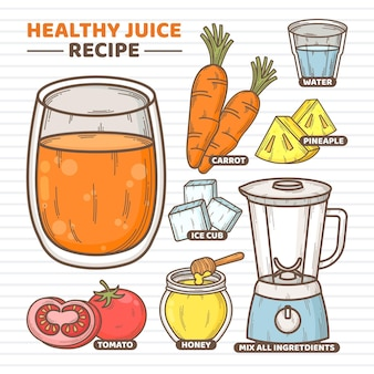 Healthy juice recipe concept