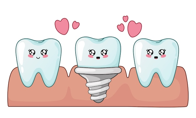 Healthy kawaii cartoon teeth and dental implant