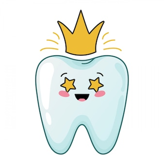 Healthy kawaii tooth with gold shining crown