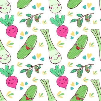 Healthy kawaii vegetables pattern with doodle art