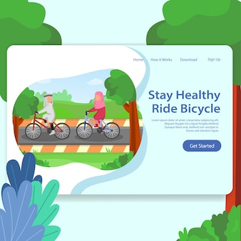 Healthy life landing page illustration man and woman riding bicycle together