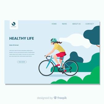 健康的な生活のフラットなデザインのランディングページ