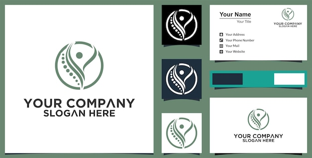 Healthy life logo and business card premium