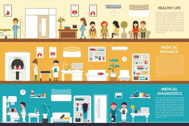 Healthy life medical research diagnostics flat hospital interior concept web vector illust