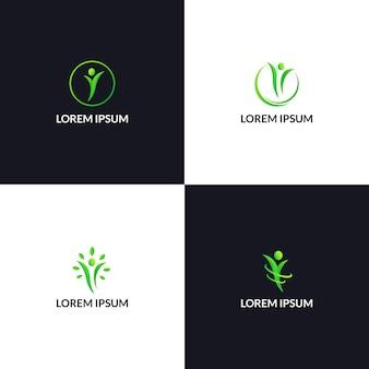 Здоровый образ жизни людей логотип значок шаблона