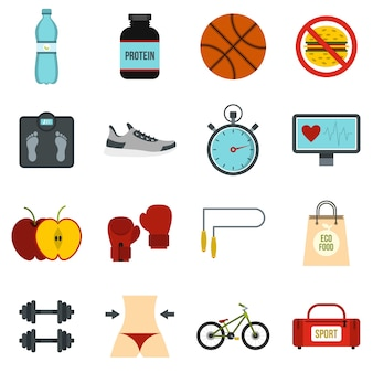 Healthy life set flat icons