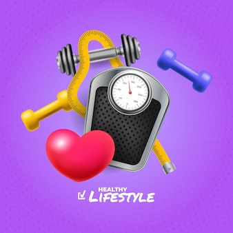 Healthy life square banner with realistic objects