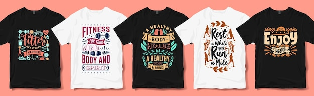 Healthy life t-shirt design collection for print. health day inspiring quotes typography