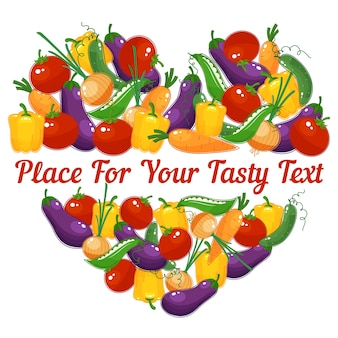 Healthy life. vector  heart made of vegetables with space for text
