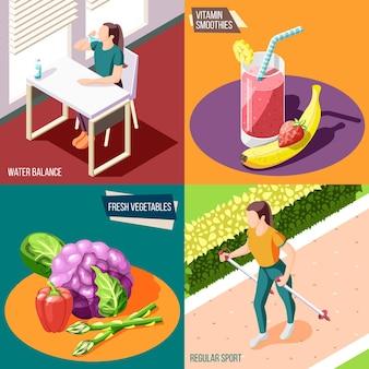 健康的なライフスタイル2x2デザインコンセプトセット