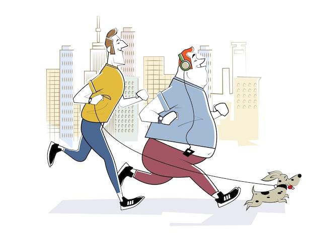 健康的なライフスタイル、アクティブな生活、スポーツ。大都会で朝走る。 2人の笑顔のランナーと小さな犬。スケッチ風のレトロなイラスト。