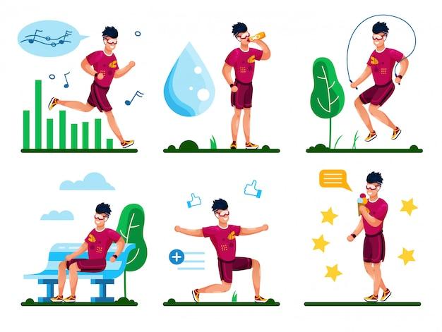 Healthy lifestyle activities types flat set