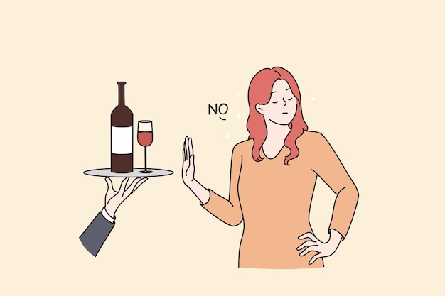 건강한 생활 방식과 알코올 개념 피하기