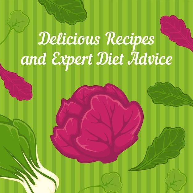 건강한 라이프 스타일과 식사, 맛있는 요리법과 전문가의 다이어트 조언. 부자가 되기 위한 권장 사항 및 팁. 영양 균형을 위한 야채와 샐러드의 섭취. 평면 스타일의 벡터