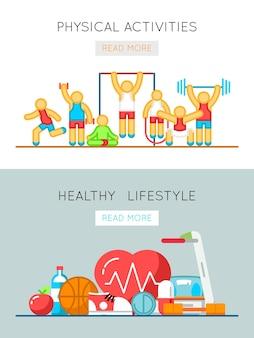 건강한 라이프 스타일과 신체 활동 플랫 라인 배너. 훈련 활동 및 신체 건강 그림