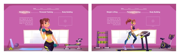 Healthy lifestyle cartoon landing pages set