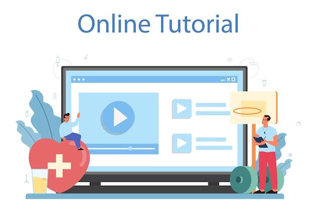 건강한 라이프 스타일 수업 온라인 서비스 또는 플랫폼. 의학 및 의료 교육에 대한 아이디어.