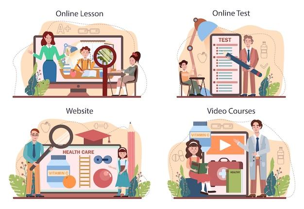 건강한 라이프 스타일 클래스 온라인 서비스 또는 플랫폼 세트. 생명 안전 및 건강 관리 교육의 아이디어. 다이어트, 스포츠 및 응급 처치. 온라인 수업, 테스트, 비디오 코스, 웹사이트. 평면 벡터 일러스트 레이 션