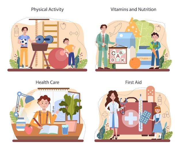 건강한 라이프 스타일 클래스 세트입니다. 생명 안전 및 건강 관리 교육의 아이디어. 기본적인 생명 안전, 응급 처치, 바이러스 예방. 다이어트, 신체 활동, 위생. 격리 된 벡터 일러스트 레이 션