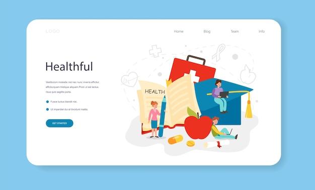 건강한 생활 방식 수업 웹 배너 또는 생명 안전에 대한 방문 페이지 아이디어