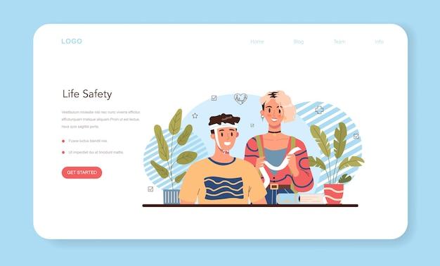 건강한 라이프 스타일 클래스 웹 배너 또는 방문 페이지는 생명 안전에 대한 아이디어를 설정합니다.