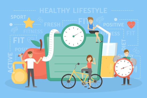 건강한 라이프 스타일 개념. 신선한 음식과 스포츠 운동은 건강에 좋습니다. 큰 저울, 사과 및 주스 앞에 서있는 사람들. 식단과 일상 활동에 대한 아이디어. 삽화