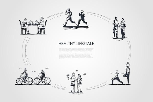 健康的なライフスタイルのコンセプトセットイラスト