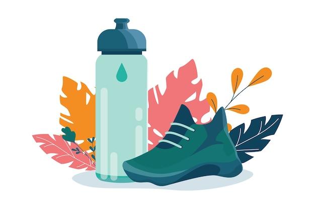 건강한 라이프 스타일 개념. 스포츠 스니커즈 및 스포츠 병. 피트니스 실행 또는 조깅 개념. 건강하고 활동적인 라이프 스타일에 대한 아이디어.