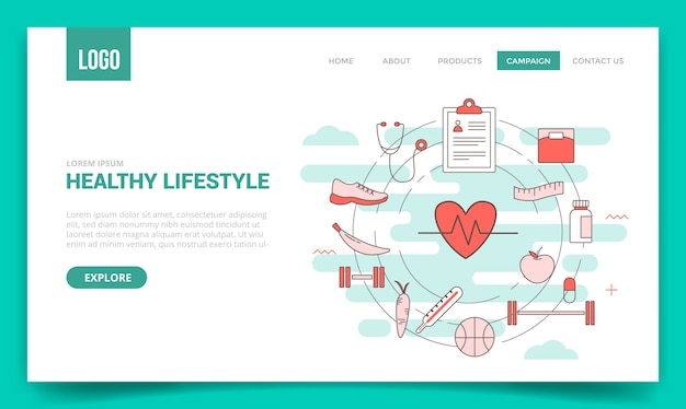 ウェブサイトテンプレートの円のアイコンと健康的なライフスタイルの概念