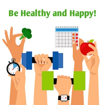 Healthy lifestyle concept with hands holding fitness, proper nutrition and daily routine symbols