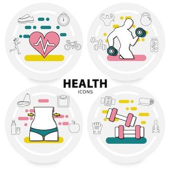 Concetto di stile di vita sano con cuore atleti attrezzature sportive vitamine avocado mela scale scarpe da ginnastica