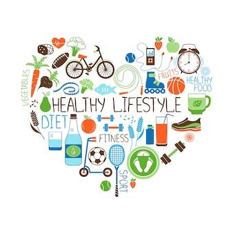 Здоровый образ жизни, диета и фитнес векторный знак в форме сердца с несколькими значками, изображающими различные спортивные овощи, зерновые, морепродукты, мясо, фрукты, сна, вес и напитки