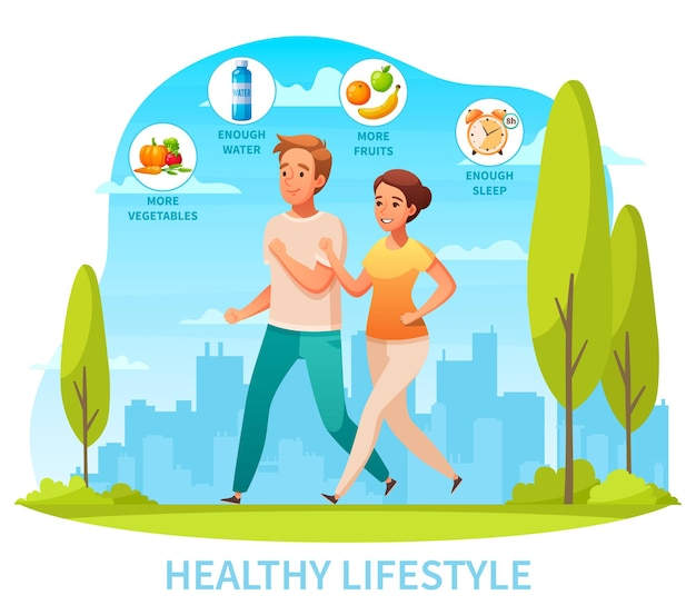 Healthy lifestyle diet exercise getting good sleep cartoon composition with jogging in city park couple