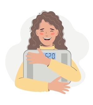 Здоровый образ жизни, диета, концепция потери веса. молодая счастливая женщина держит в руках весы и чувствует себя уверенно, похудев и обретя идеальную форму тела. вектор