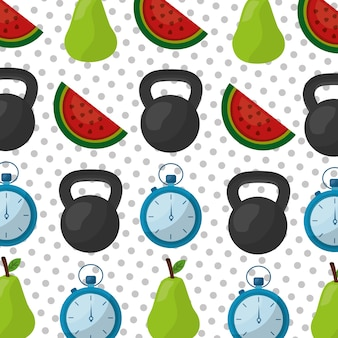 Healthy lifestyle dumbbell chronometer pear and watermelon