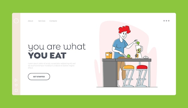 Healthy lifestyle, eco food eating landing page template.