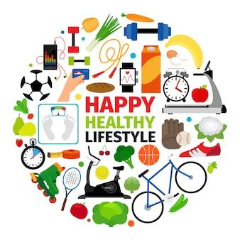 Healthy lifestyle emblem