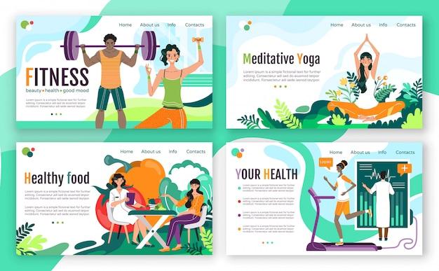 Концепция фитнеса здорового образа жизни для веб-сайта, иллюстрации