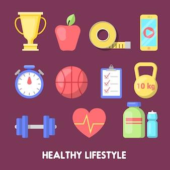 Healthy lifestyle fitness icon set.