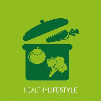 Healthy lifestyle over green background vector illustration
