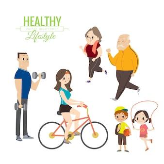 건강한 라이프 스타일 행복한 가족 운동