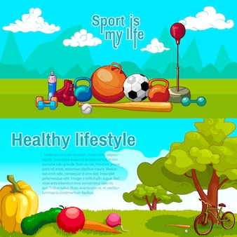 Healthy lifestyle horizntal banners