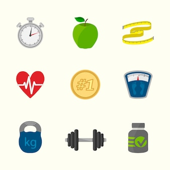 Healthy lifestyle icons collection